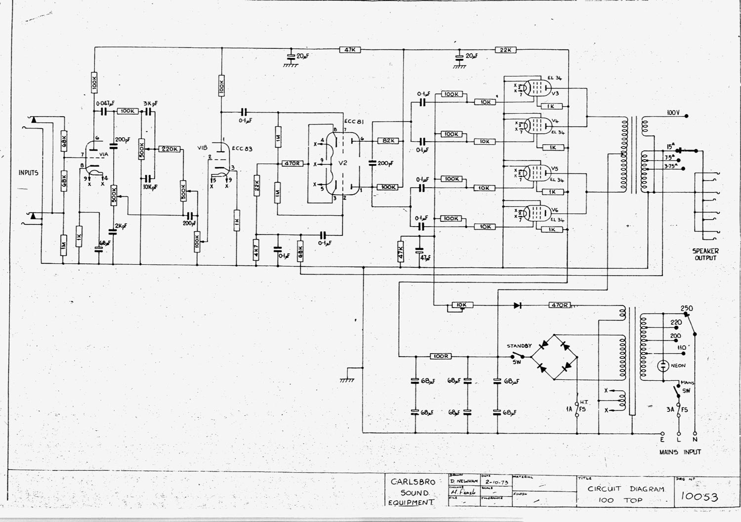 carlsbro 100 top amplifier schematic diagram. Black Bedroom Furniture Sets. Home Design Ideas