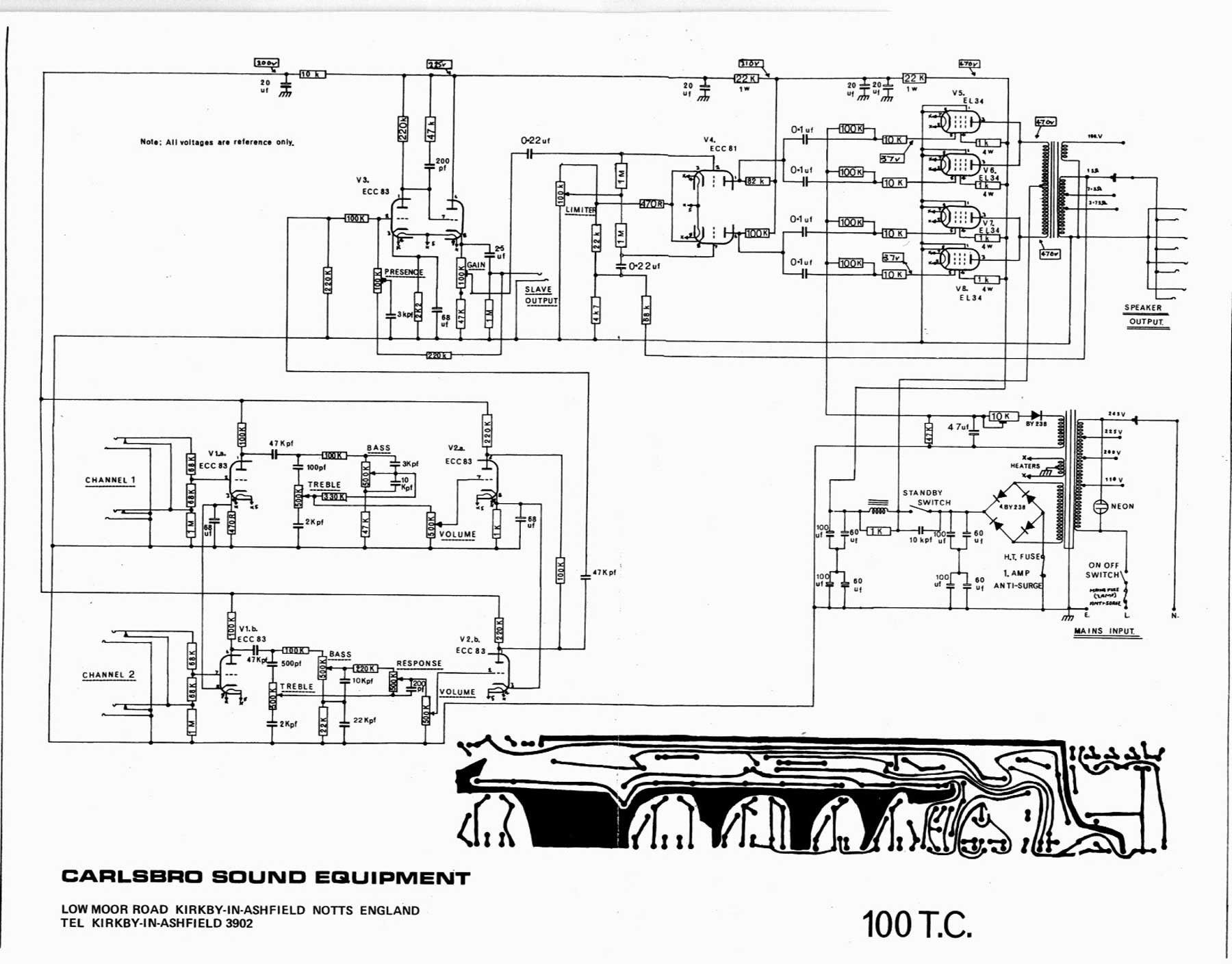 Carlsbro 100 T C  Amp Schematic