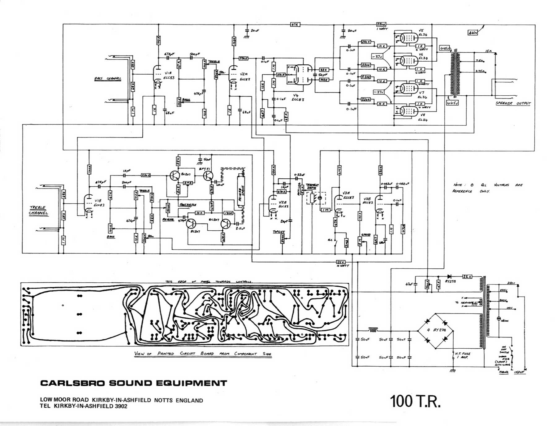 Carlsbro 100 T R  Amp Schematic