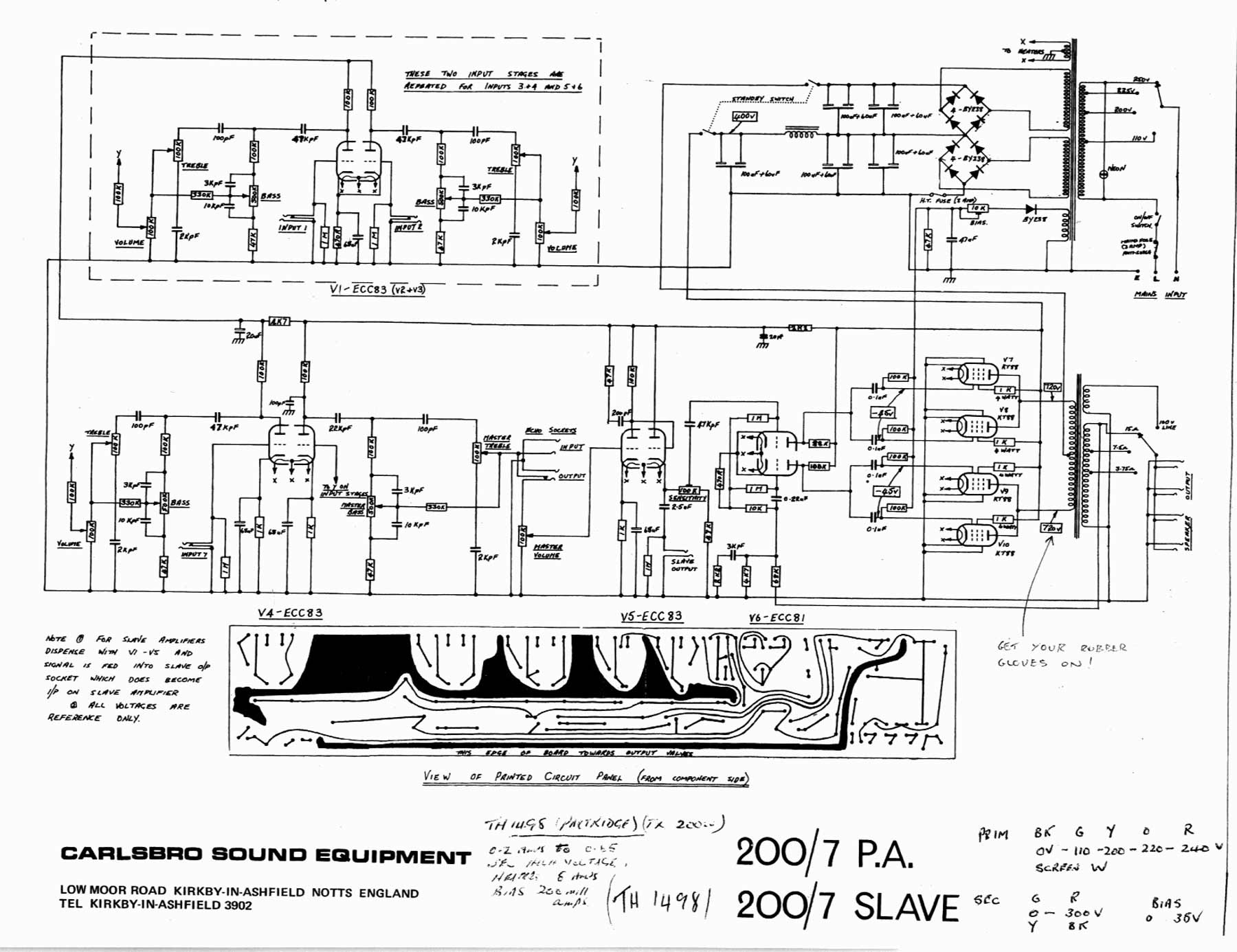 carlsbro 200 7 pa slave amp schematic return to carslbro schematic diagrams page