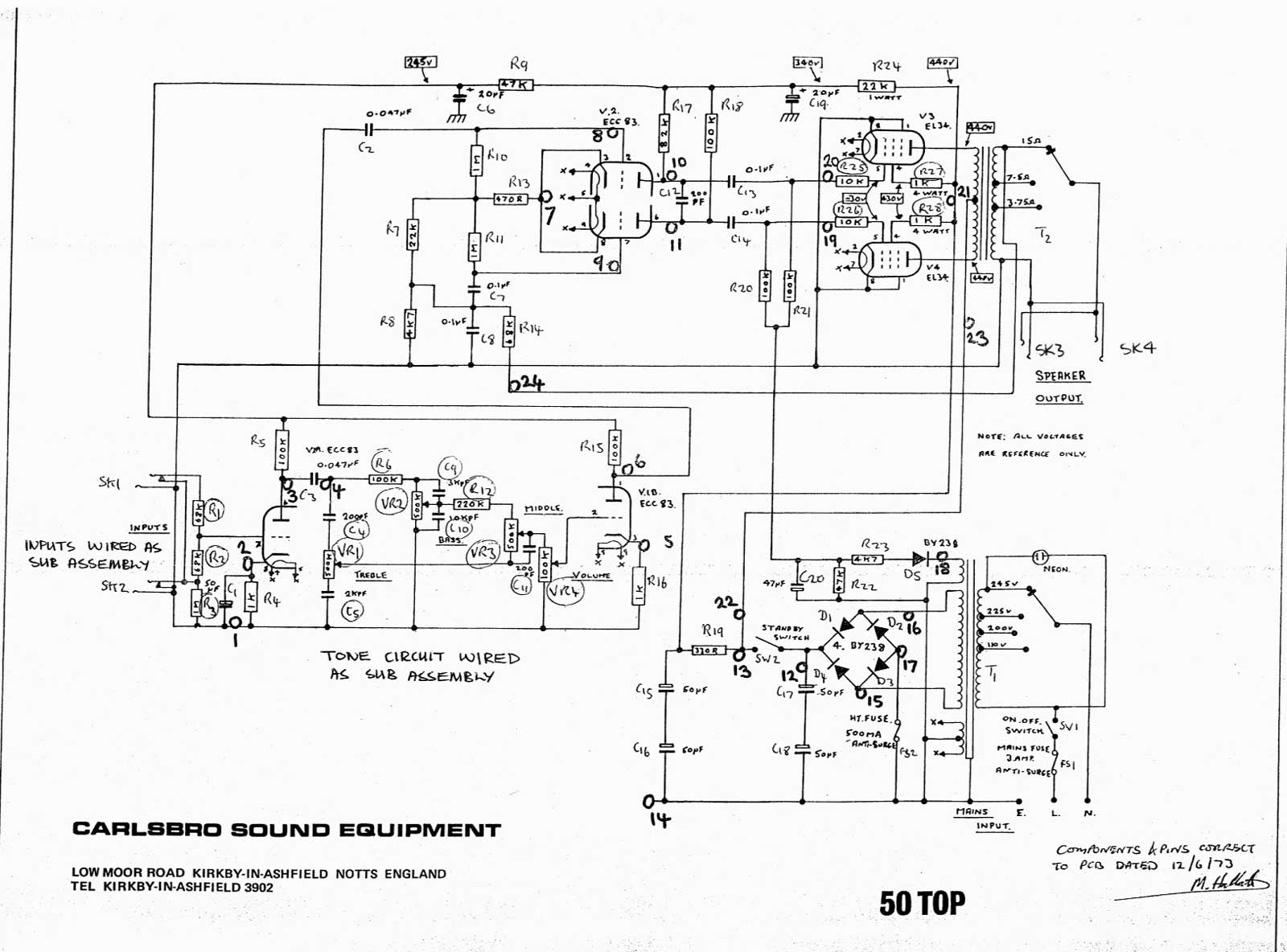 carlsbro 50  2  top amp schematic