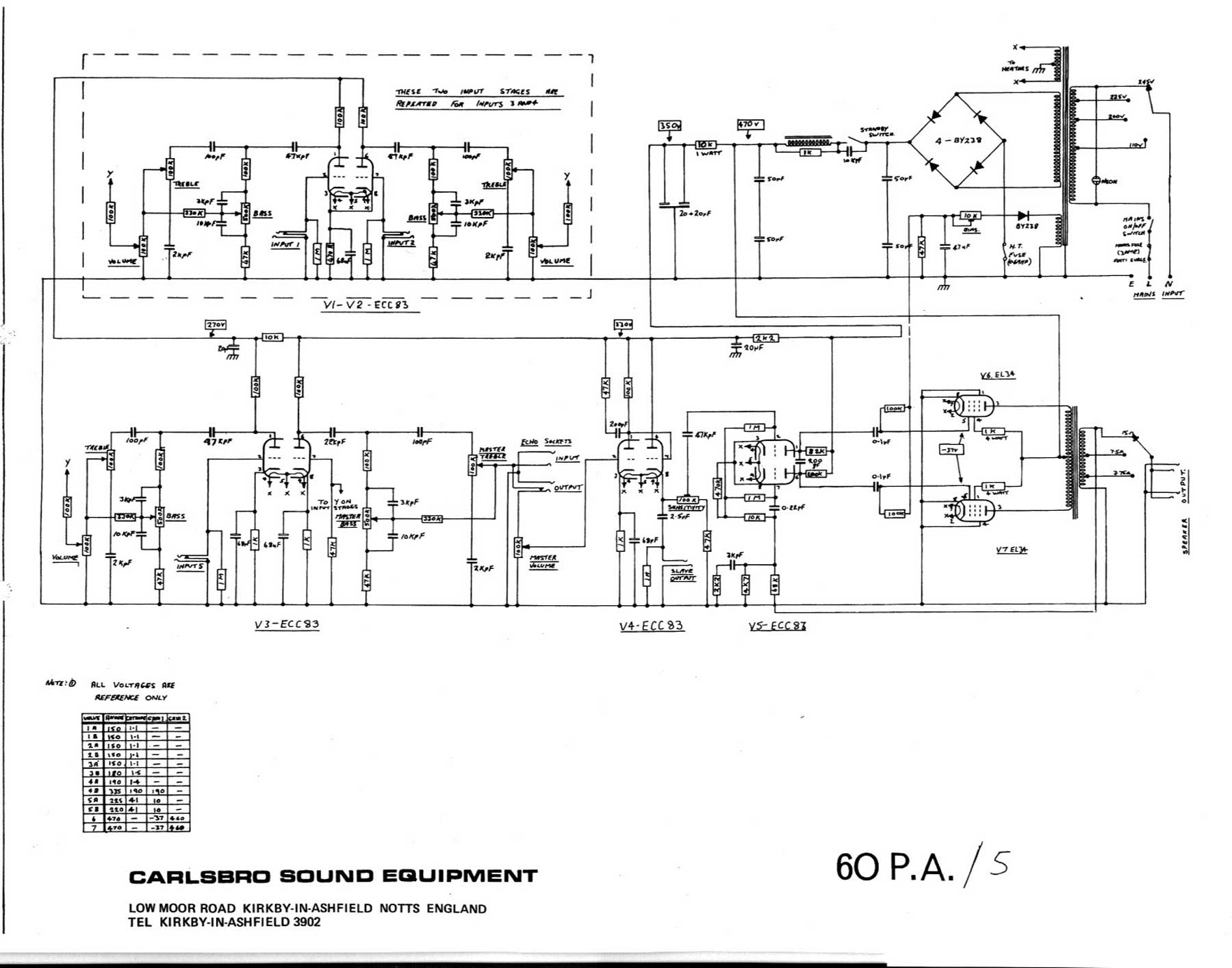60pa5 carlsbro 60 pa 5 amp schematic pa wiring diagram at panicattacktreatment.co