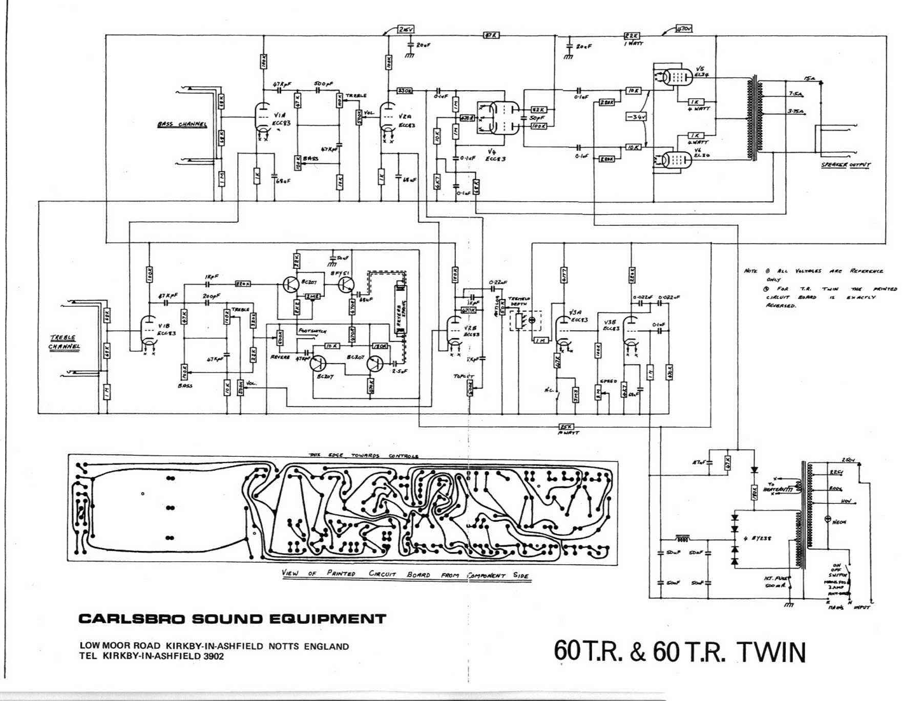 carlsbro 60 t r and 60 t r twin amp schematic. Black Bedroom Furniture Sets. Home Design Ideas