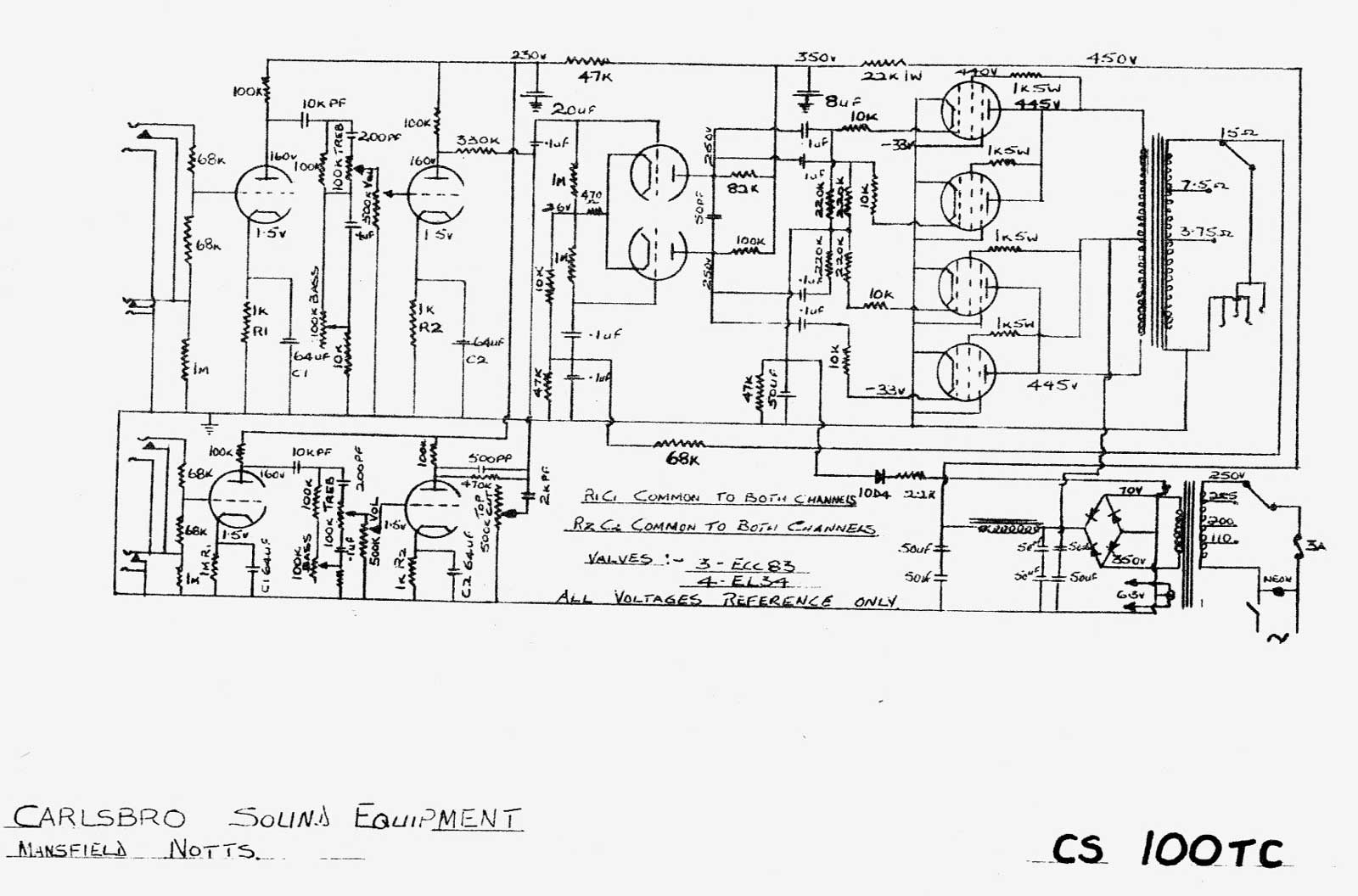 Carlsbro CS100 T.C. Amp Schematic on technical drawing, electronic design automation, piping and instrumentation diagram, schematic editor, data flow diagram, diagramming software, circuit diagram, function block diagram, block diagram, functional flow block diagram, tube map, straight-line diagram, ladder logic, one-line diagram, control flow diagram, schematic capture,