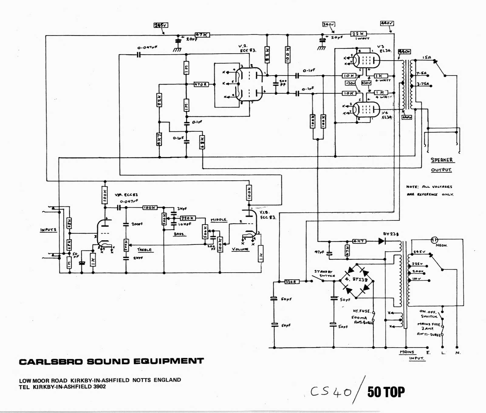carlsbro cs 40  50 top amp schematic
