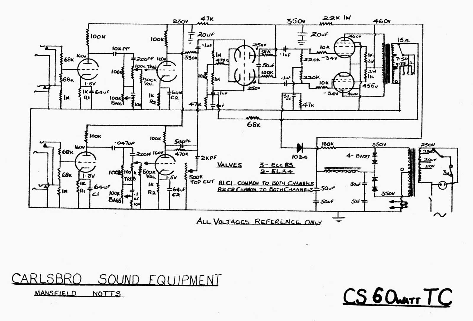 carlsbro cs60 t c  amp schematic