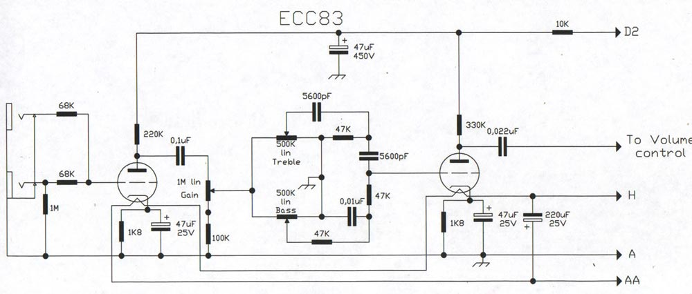 champ cba 500 bass guitar amp schematic diagram when i designed this amp the pre amp section was intended to have an immense amount of gain