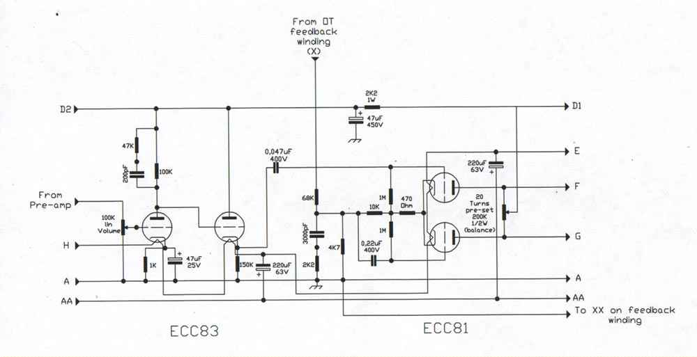 Champ CBA 500 Bass Guitar Amp Schematic Diagram