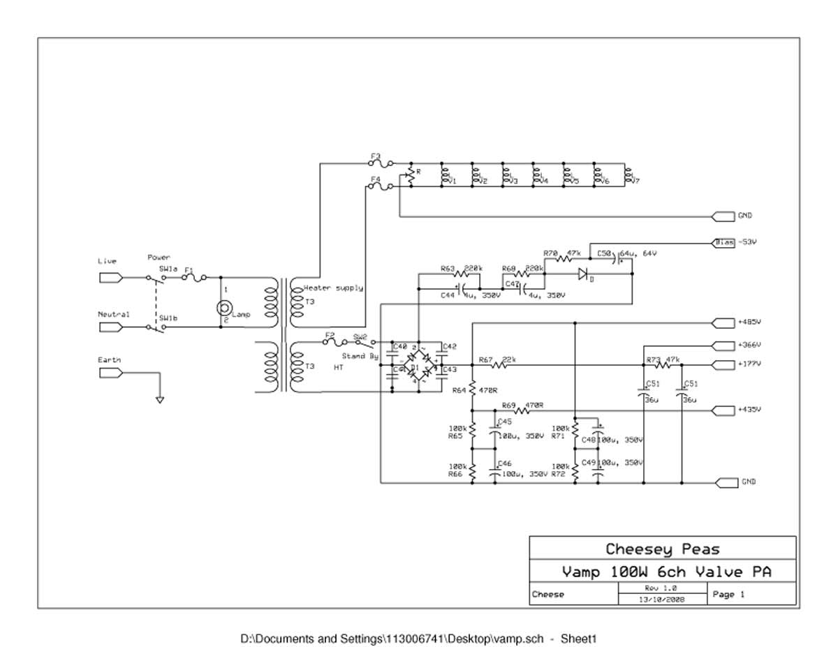 vampower 100 watt amplifier schematic diagrams vampower 100 watt pa head schematic sheet one