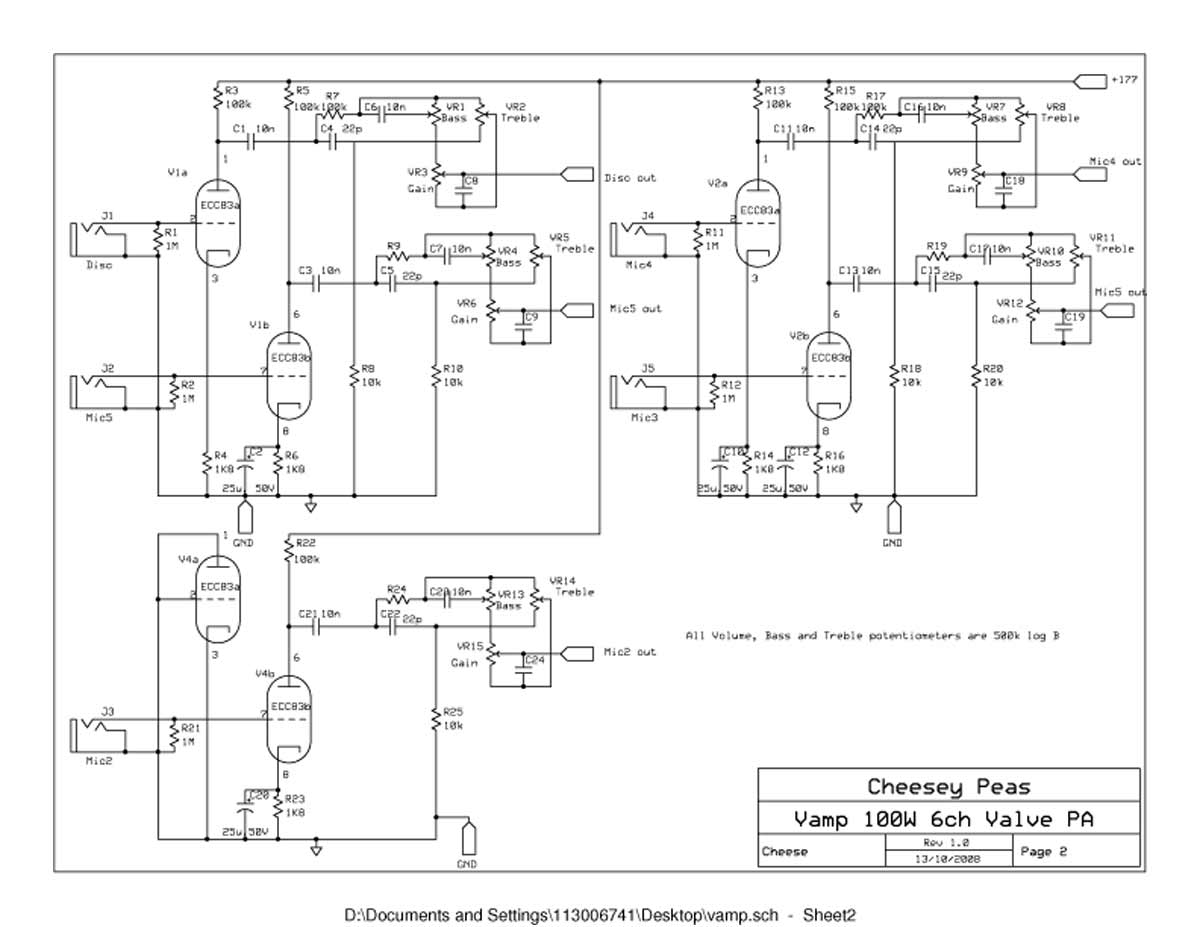 vampower 100 watt amplifier schematic diagrams vampower 100 watt pa head schematic sheet two