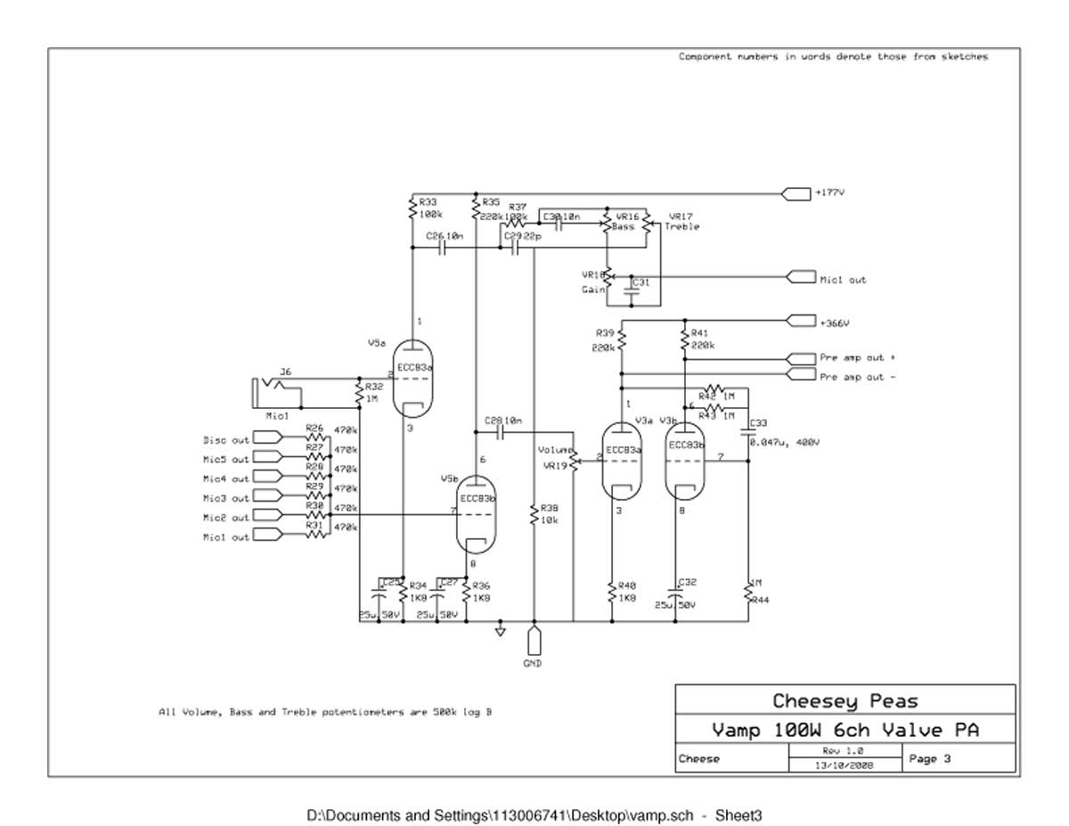 vampower 100 watt amplifier schematic diagrams vampower 100 watt pa head schematic sheet three