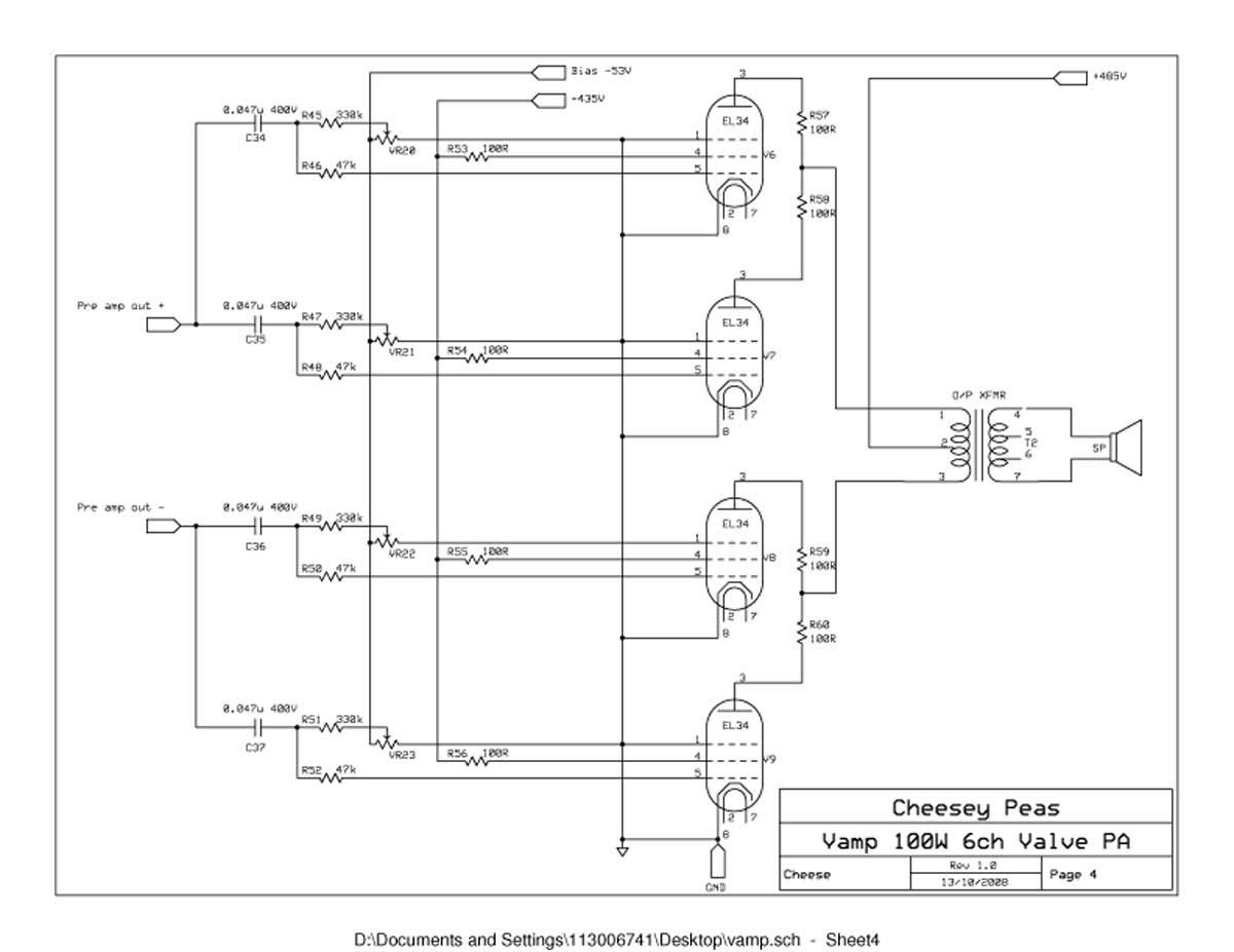 vampower 100 watt amplifier schematic diagrams vampower 100 watt pa head schematic sheet four